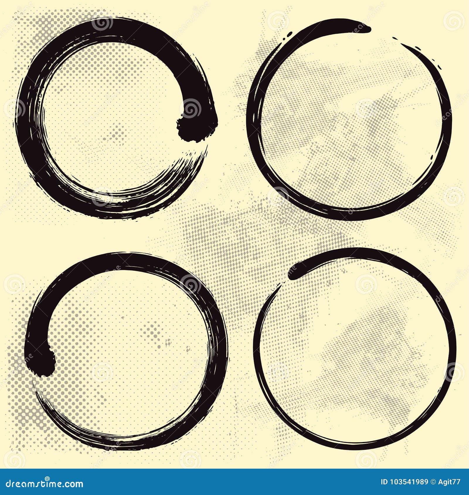 Enso Zen Set sur le vieux fond de papier