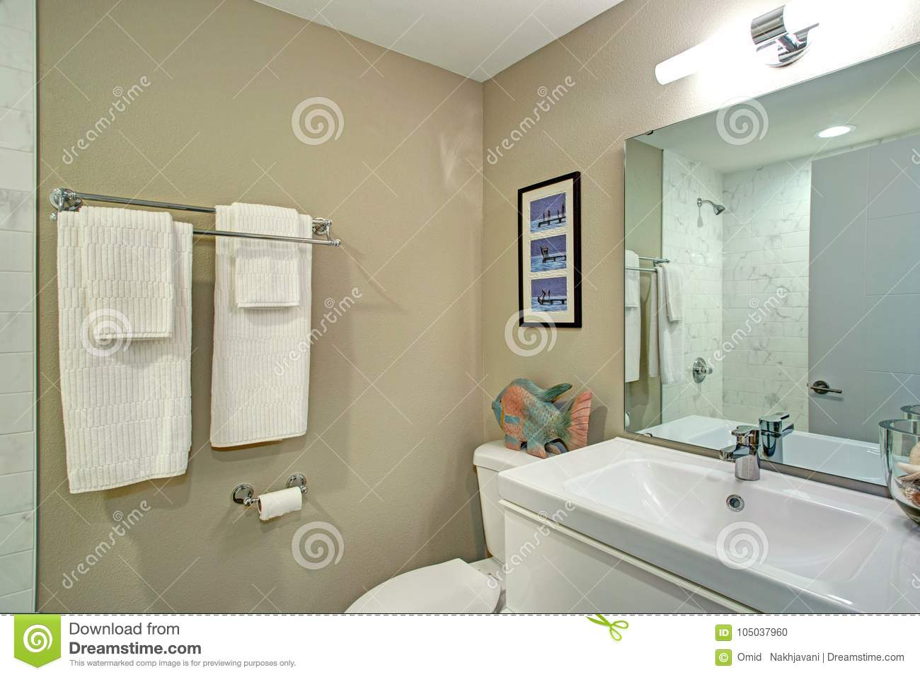 Ensuite Bathroom With Bathroom Vanity And A Toilet Stock Photo Image Of Architecture Modern 105037960