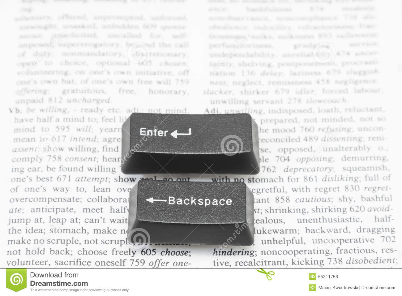 Enter and Backspace Computer Keys on a Book Page