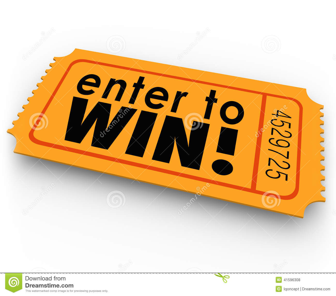 Enter To Win Raffle Ticket Winner Lottery Jackpot Stock