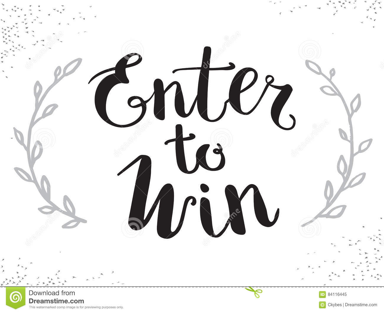 Enter To Win Vector Sign Win Prize Win In Lottery Stock