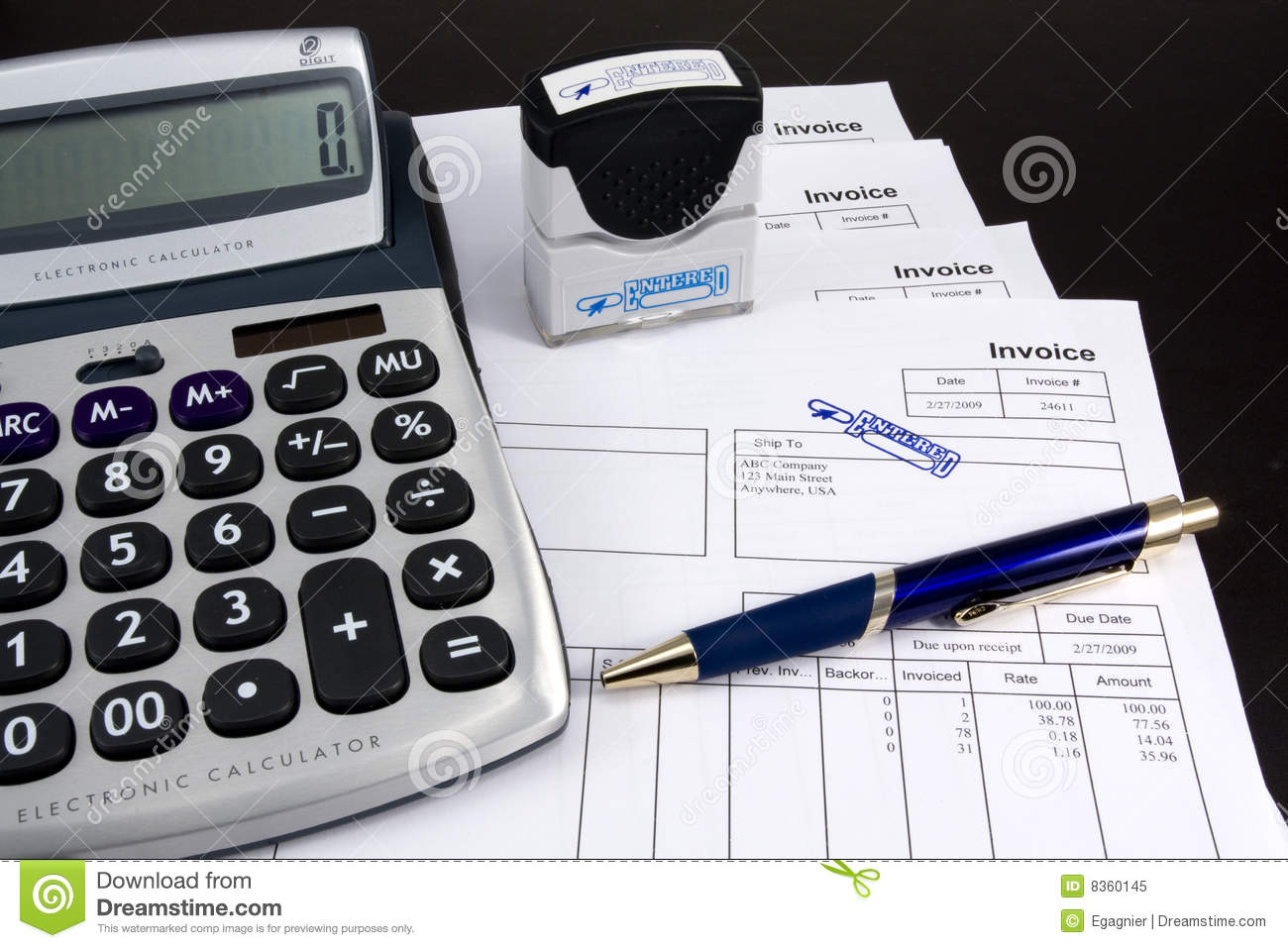 Entered Invoice With Calculator And Pen Royalty Free Stock