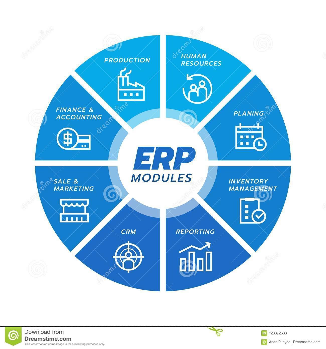 Enterprise Resource Planning ERP Module Icon Construction On