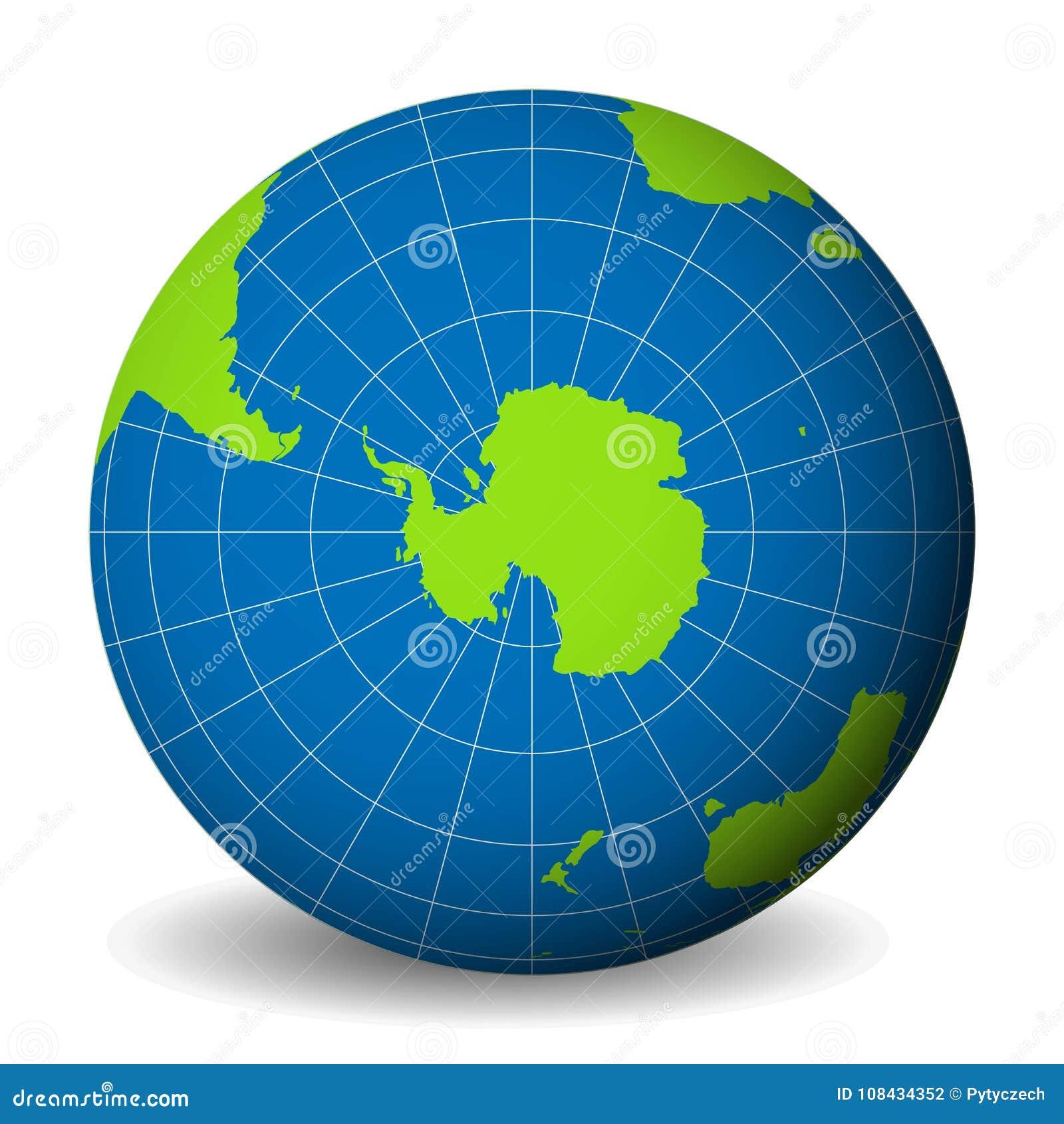 Enterre o globo com mapa do mundo verde e os mares e os oceanos azuis focalizados na Antártica com polo sul Com branco fino
