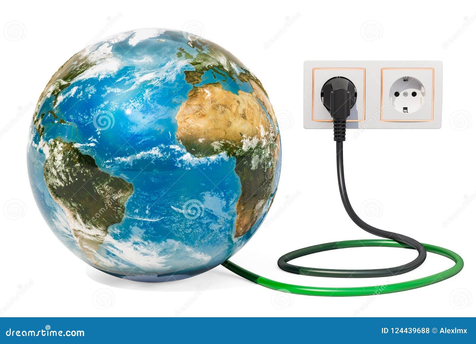 Enterre o globo com a tomada de poder no soquete bonde Energia verde