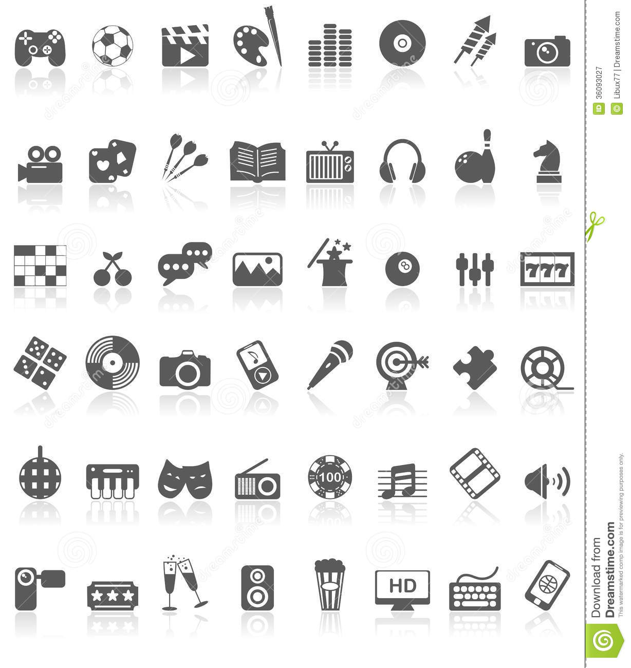 entertainment icons collection black on white royalty free