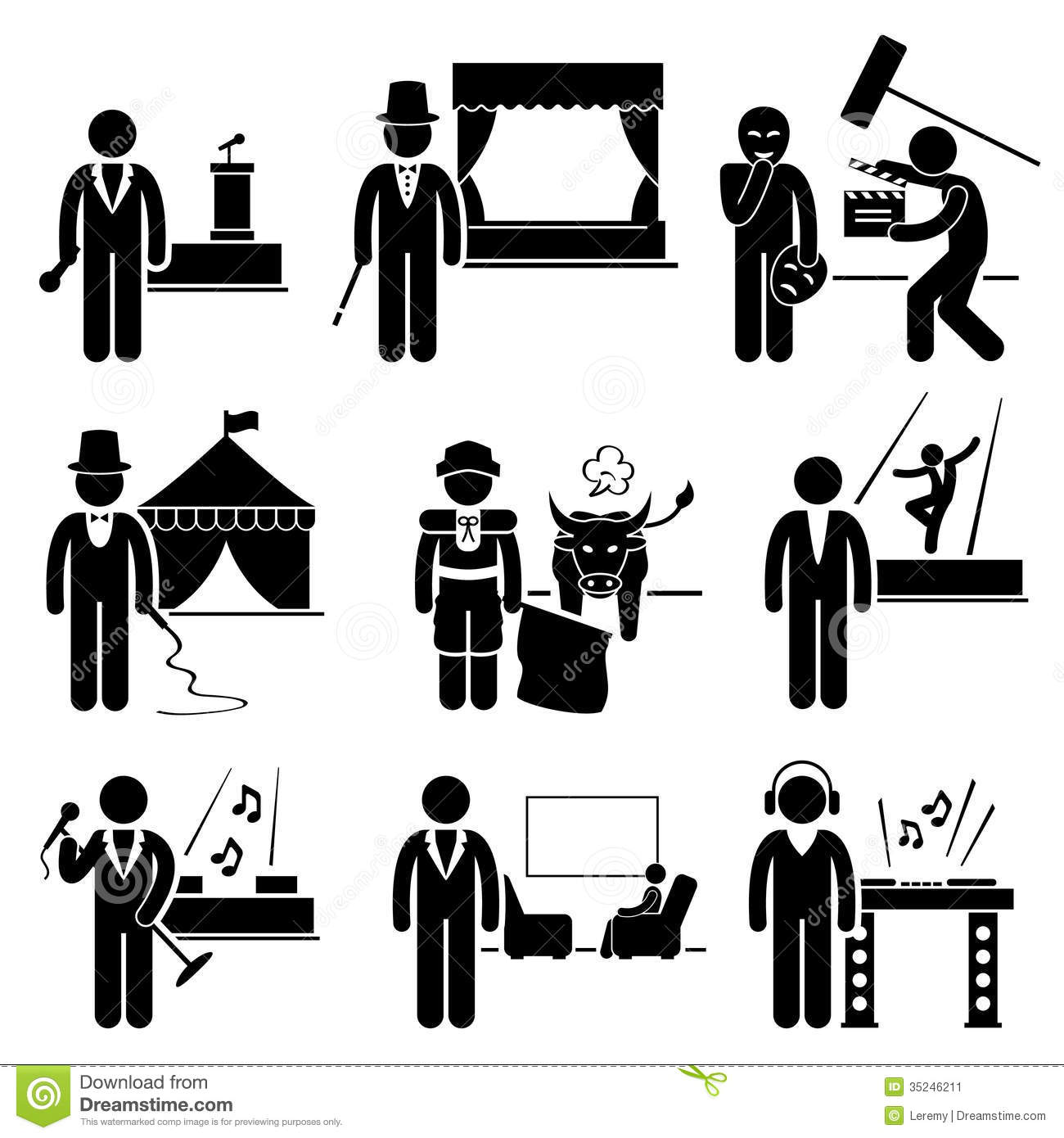 Art Jobs : Entertainment artist jobs occupations careers stock vector