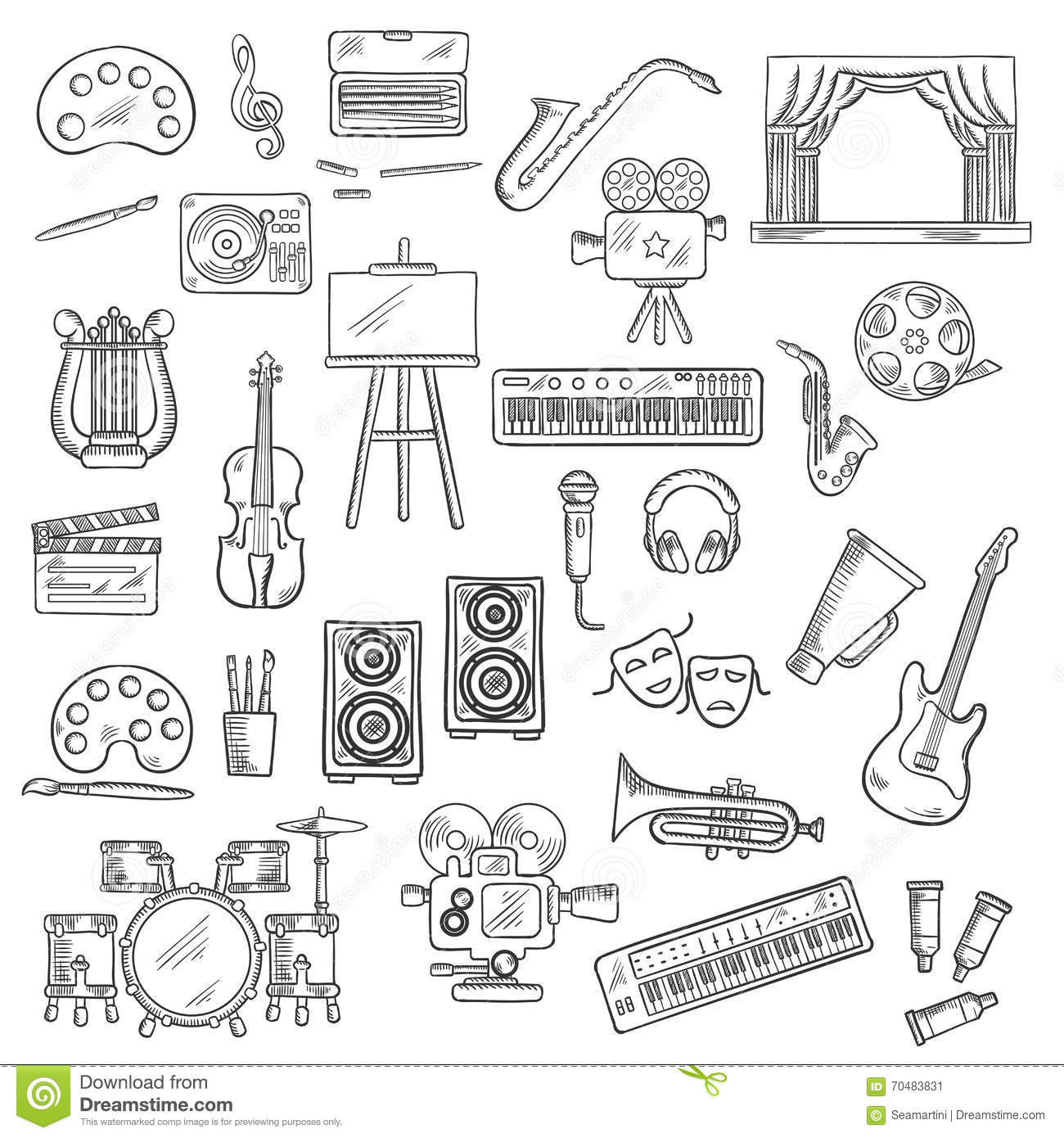 Entertainment And Visual Arts Sketch Icons Stock Vector
