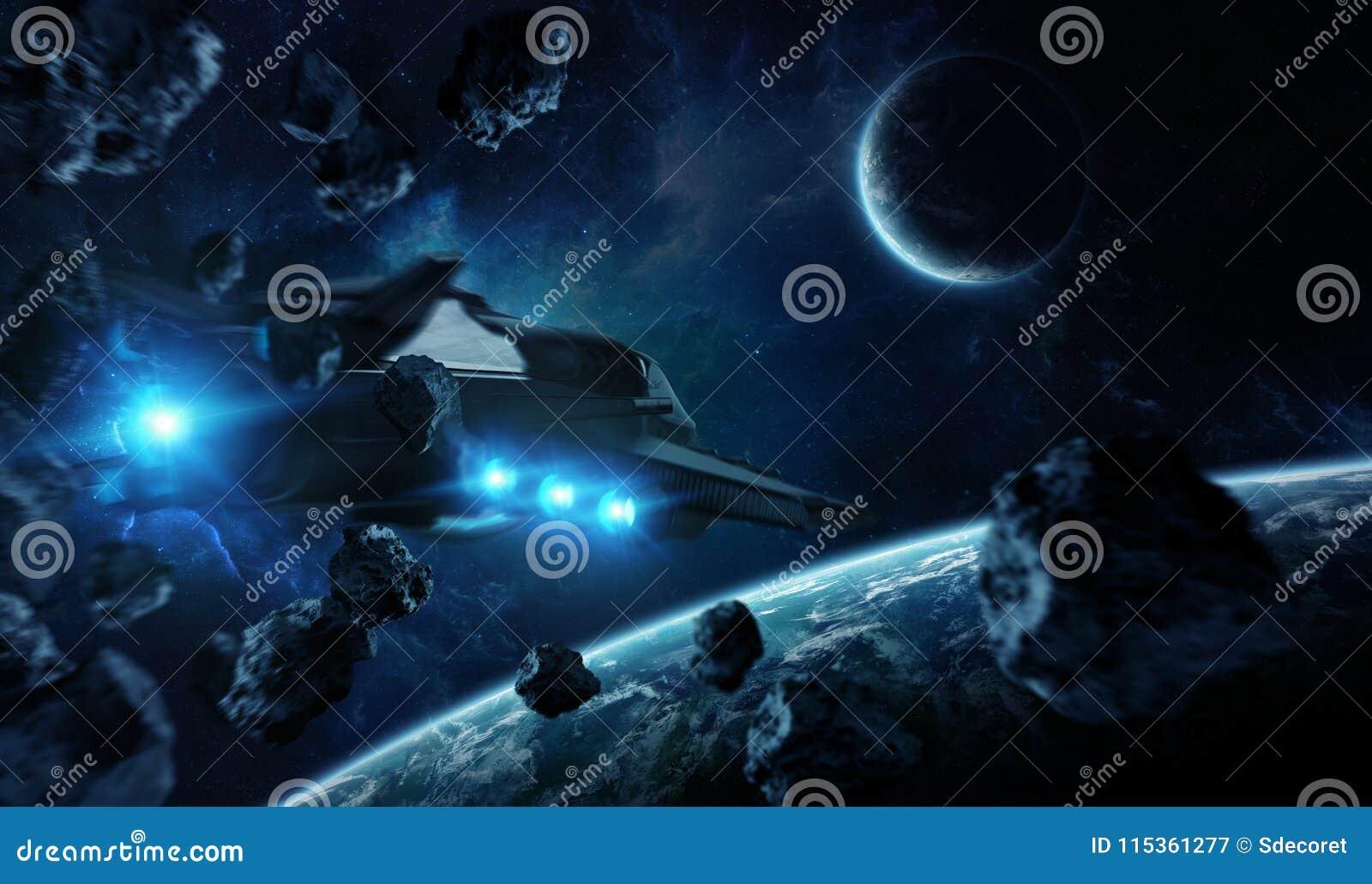 Entferntes Planetensystem im Raum mit exoplanets 3D Wiedergabe elem