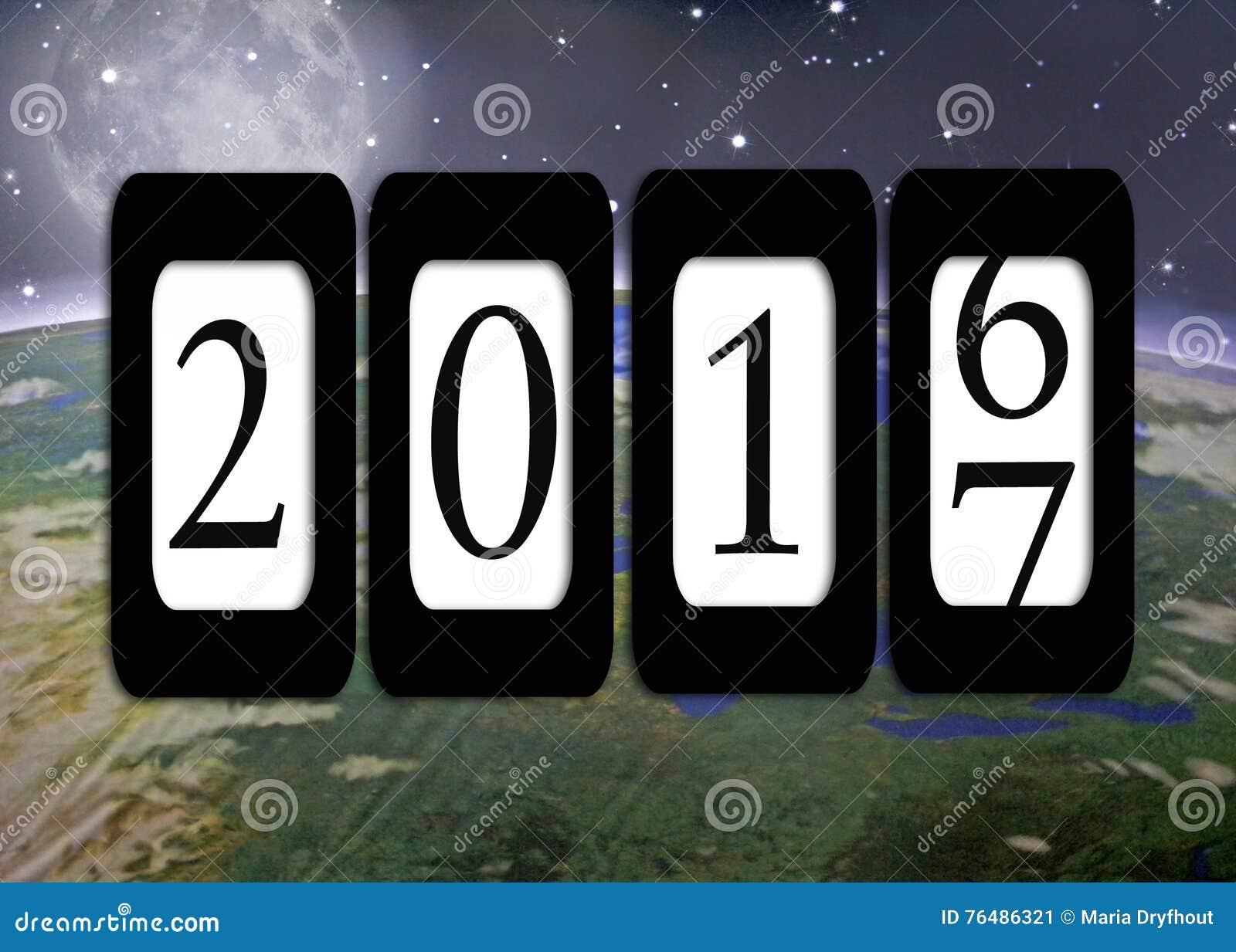Entfernungsmesser für neues jahr 2017 auf planet erde stock