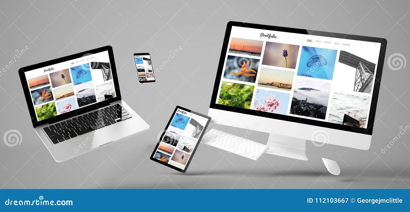 Entgegenkommende Website des Fliegengerät-Portfolios