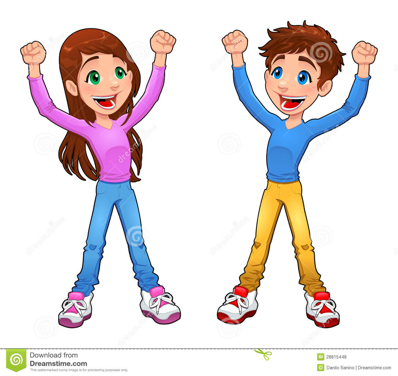 enthusiast boy and girl stock vector illustration of cartoon