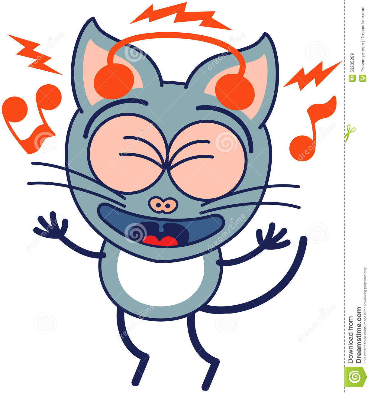 Logo Cat With Headphones And Green Eyes | Cute Cats