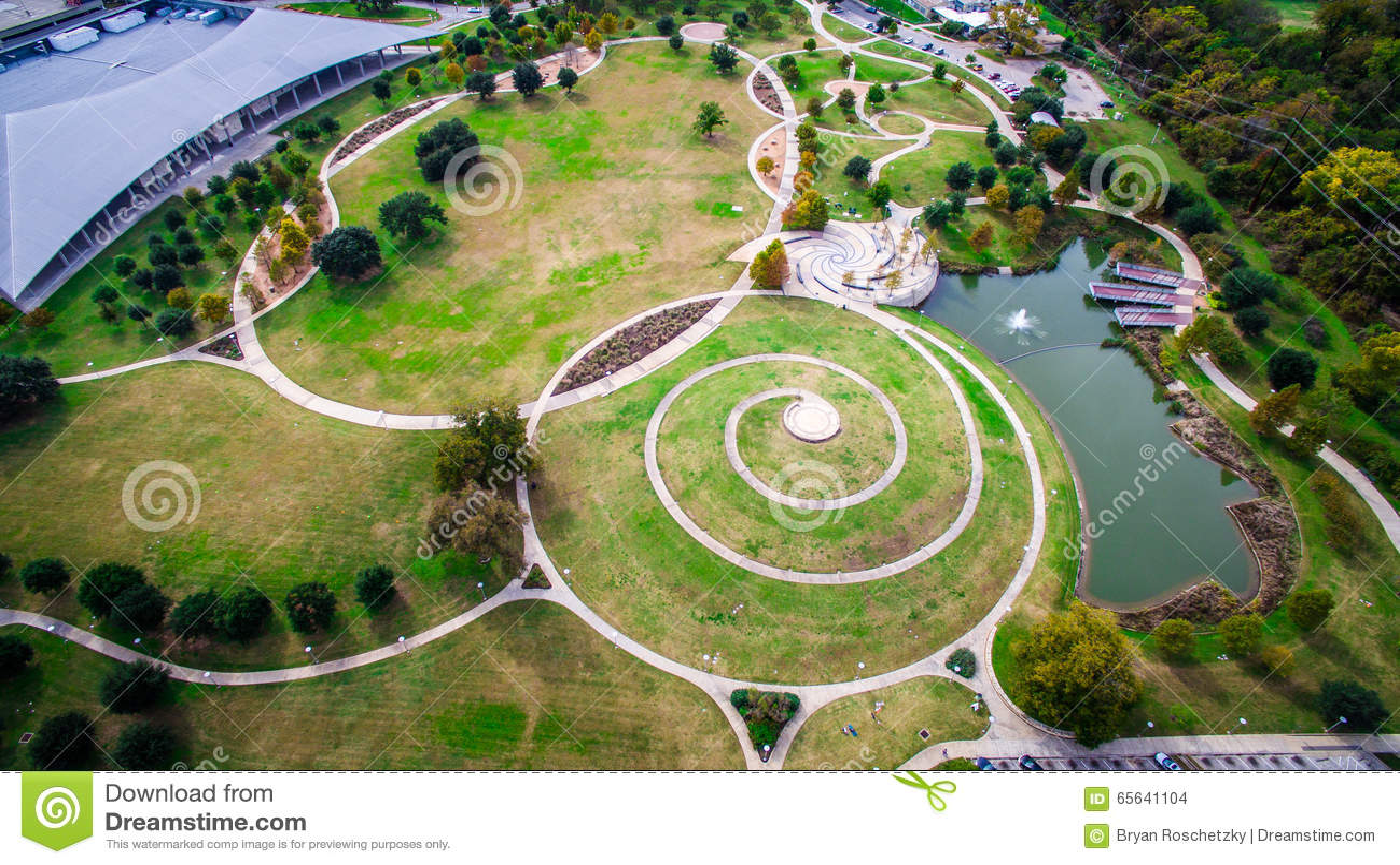 Entourez la vue aérienne Austin de modèles regardant vers le bas Butler Park