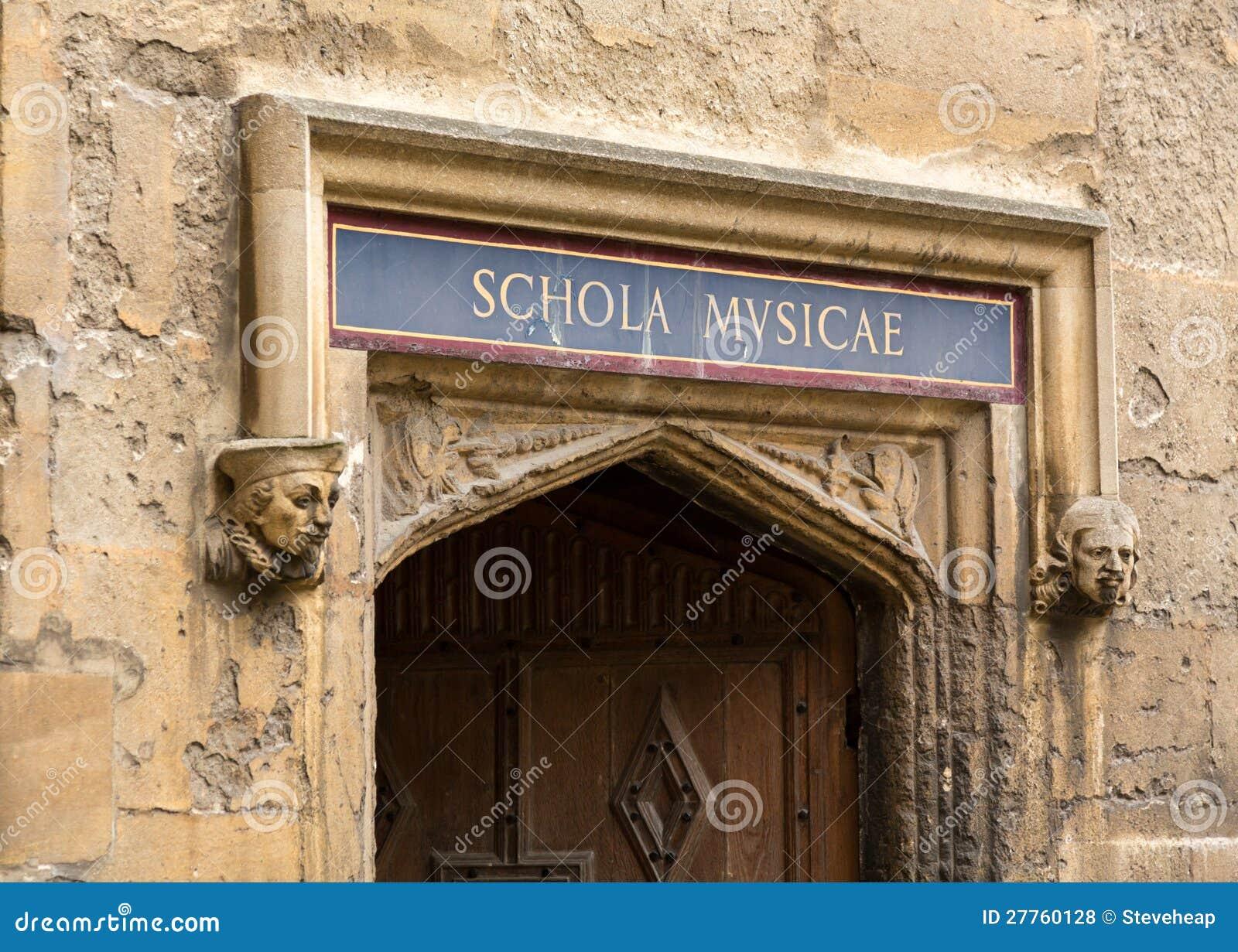Entrée à l école de la musique à la bibliothèque de Bodeian