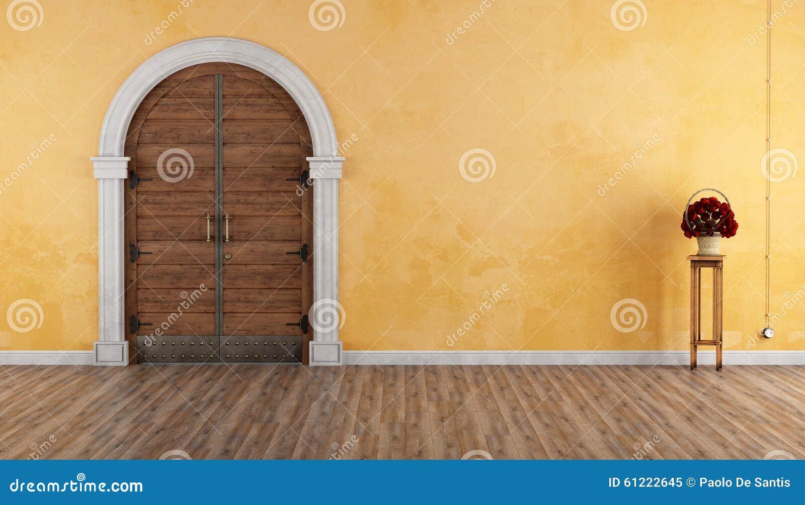 Vieux Portail En Bois entrée à la maison avec le vieux portail illustration stock