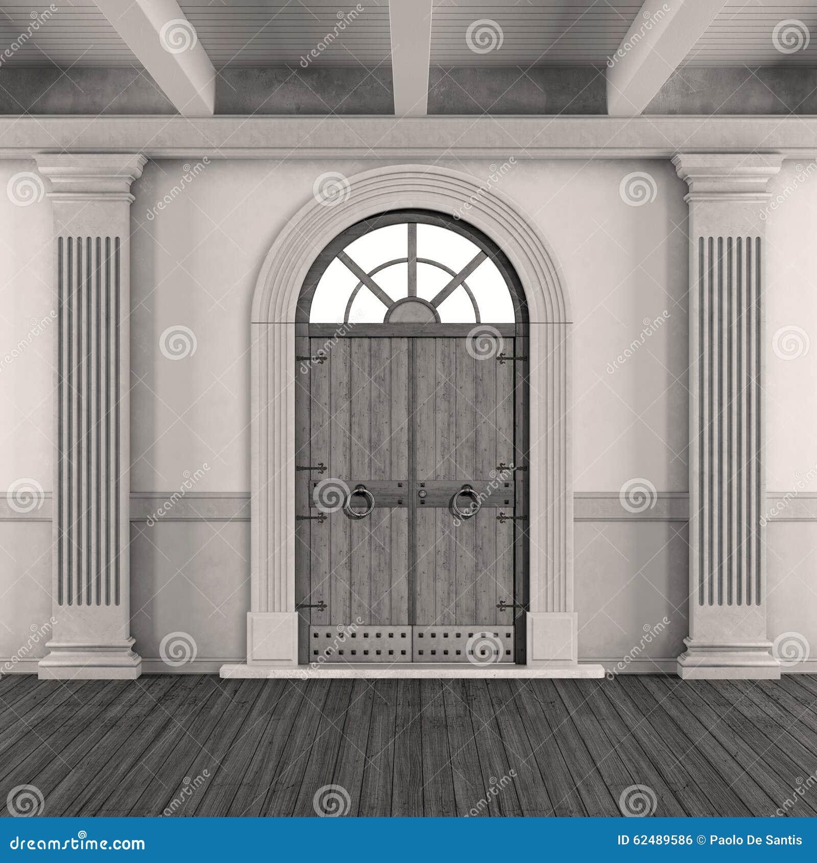 Entrée Noir Et Blanc entrée à la maison classique noire et blanche illustration
