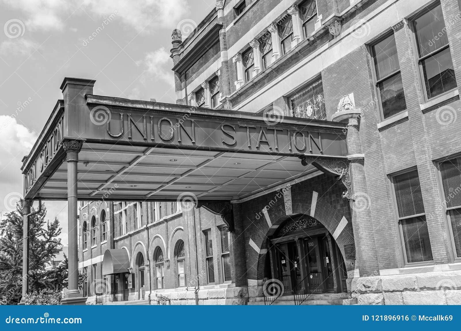 Entrée Noir Et Blanc entrée à la station des syndicats en noir et blanc photo