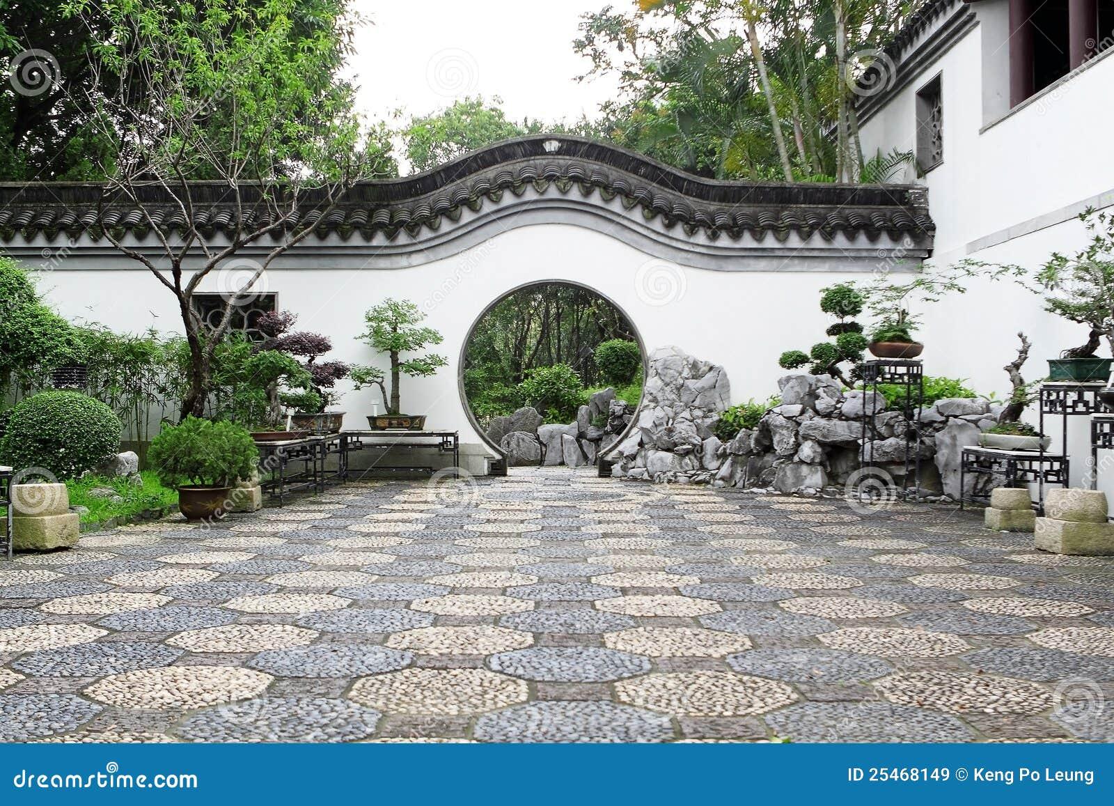 Entr e de cercle de jardin chinois images libres de droits for Conception jardin chinois