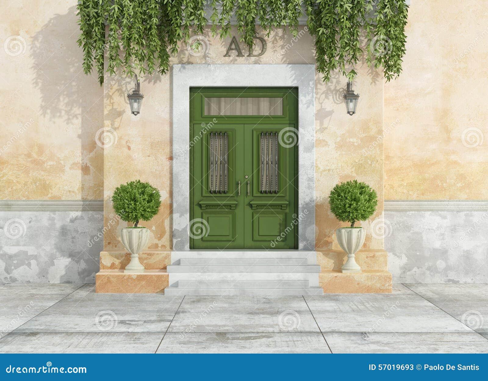 Entr e ext rieure d 39 une maison de campagne illustration for Entree d une maison
