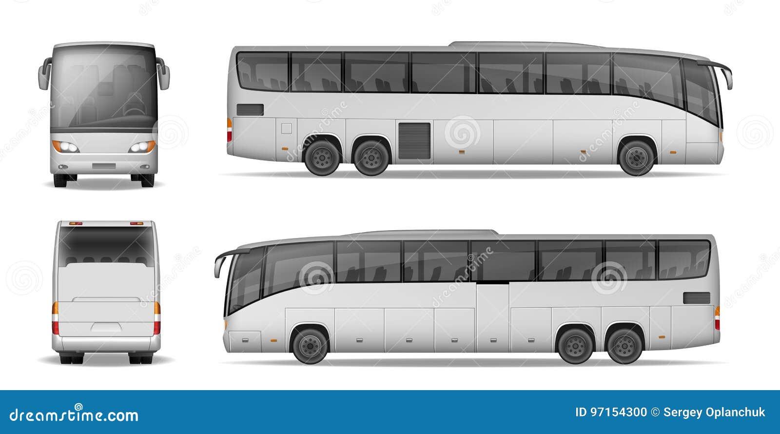 Entraîneur Bus d isolement sur le fond blanc Autobus de passager de voyage pour faire de la publicité et votre conception Maquett