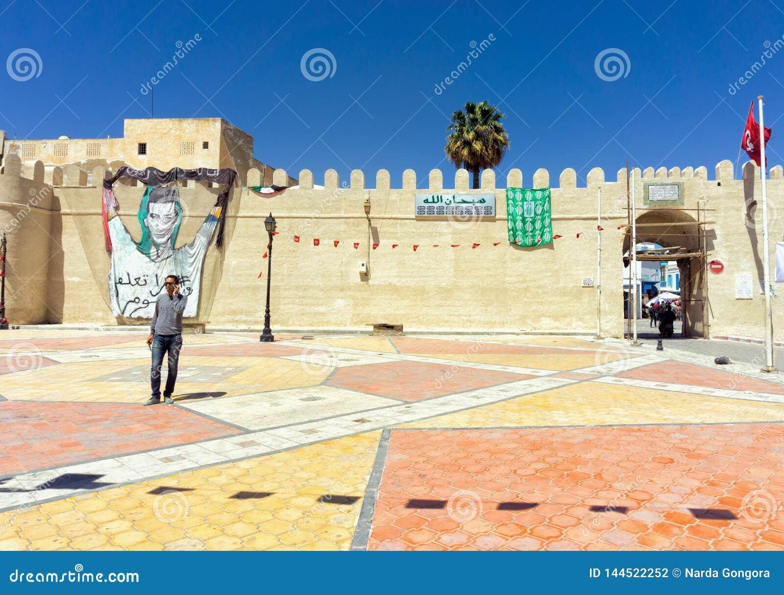 Entrada ao Medina de Kairouan, Tunísia