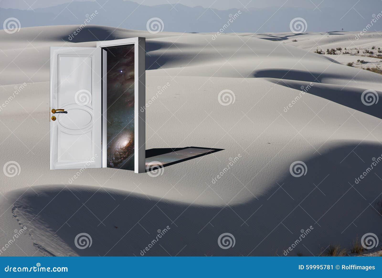 Entrada com cosmos no deserto branco