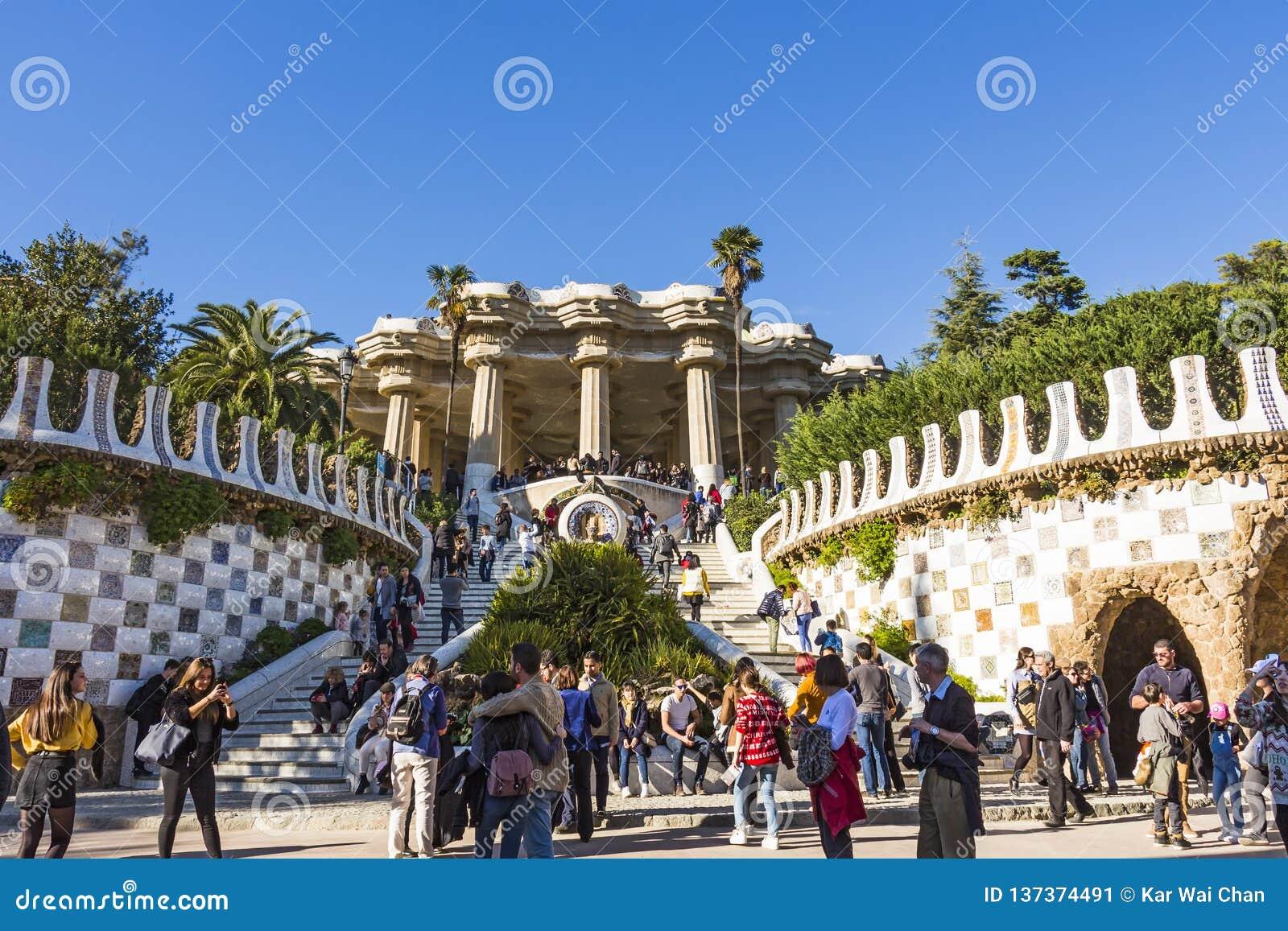 Entrada principal para parquear Guell Fue construido construido a partir de 1900 a 1914 por Antoni Gaudi