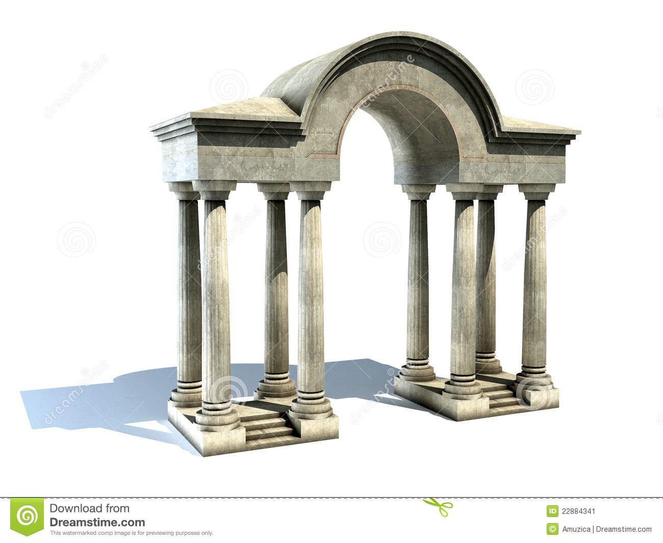 Entrance With Arch And Columns Stock Image Image 22884341