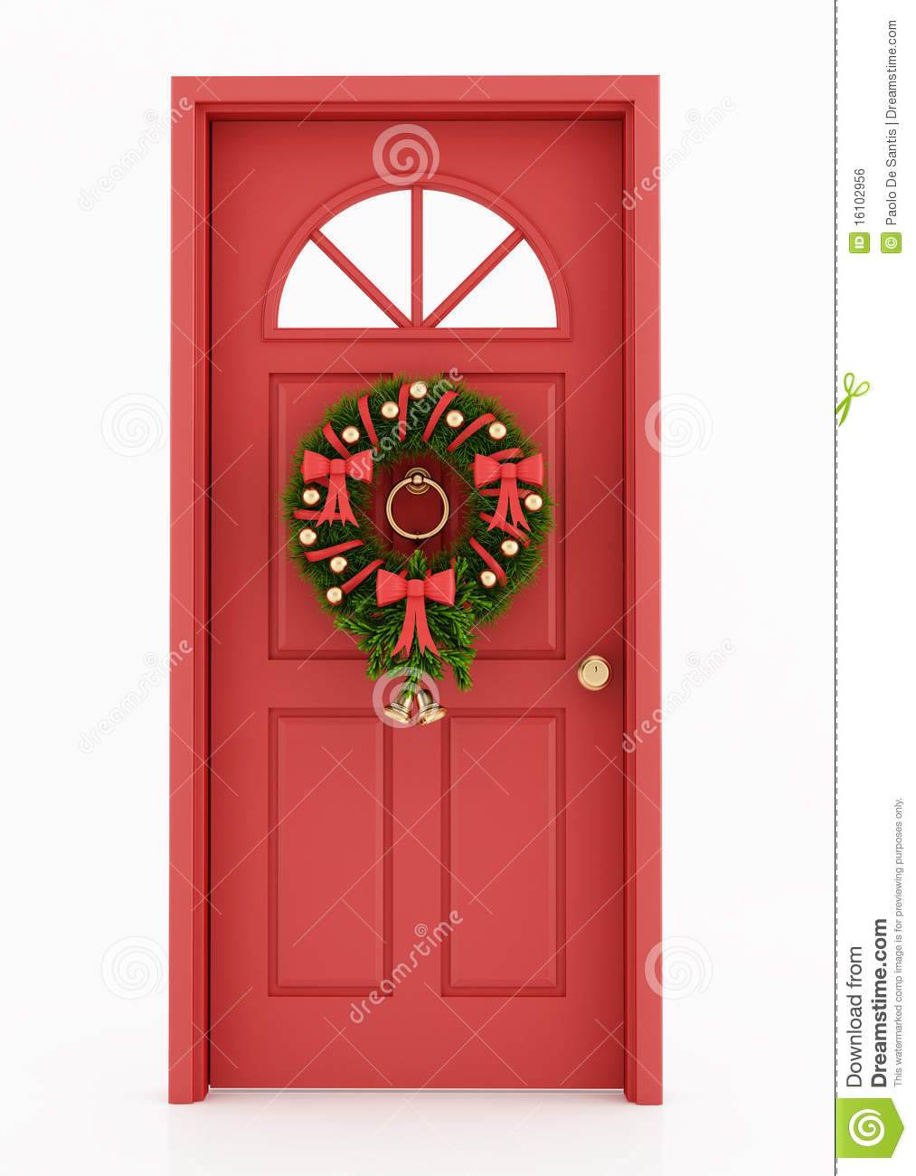 Entrance Door With Christmas Wreath Royalty Free Stock Image - Image ...