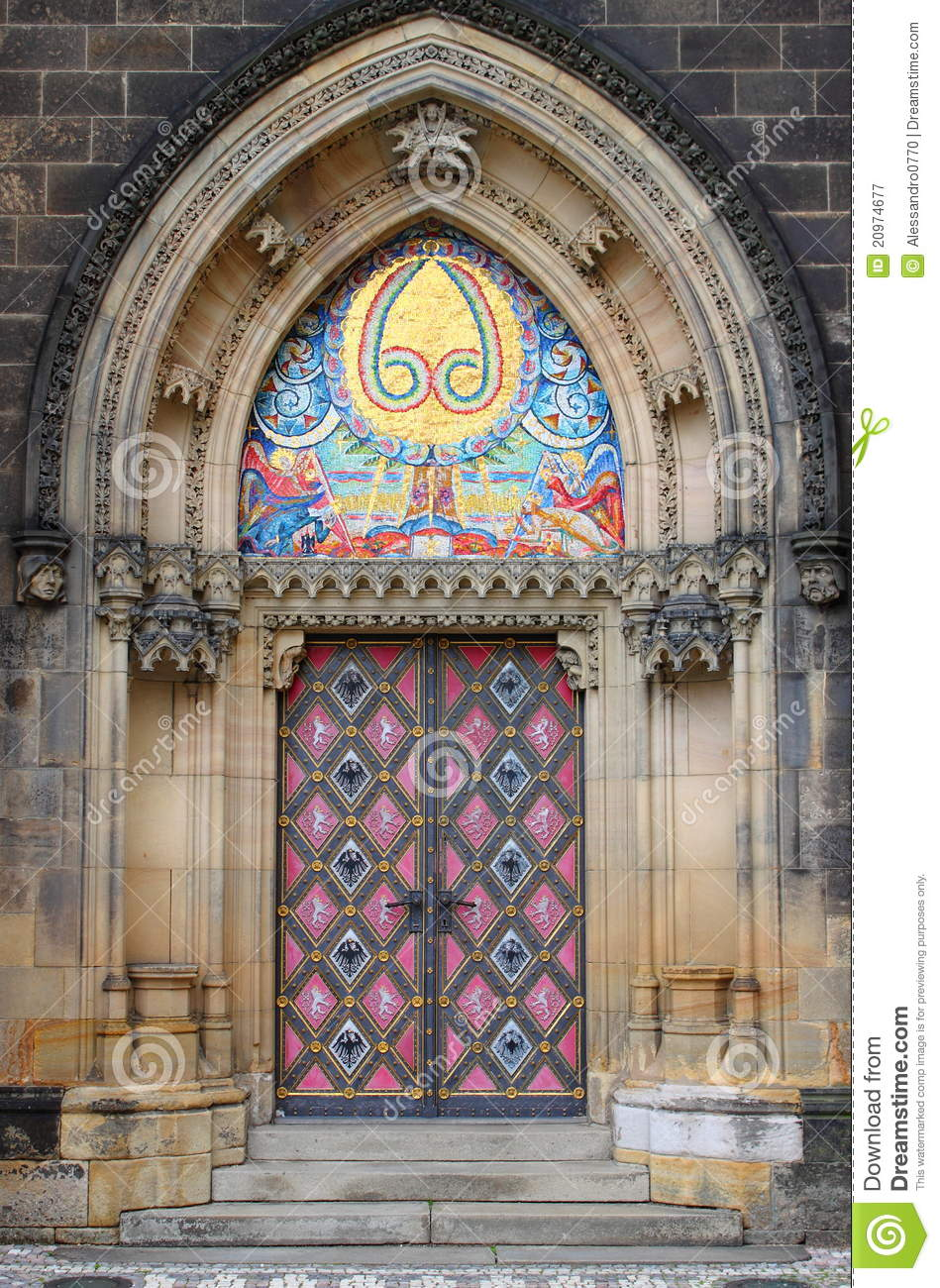 Entrance door of st peter and paul church royalty free for Door z prague