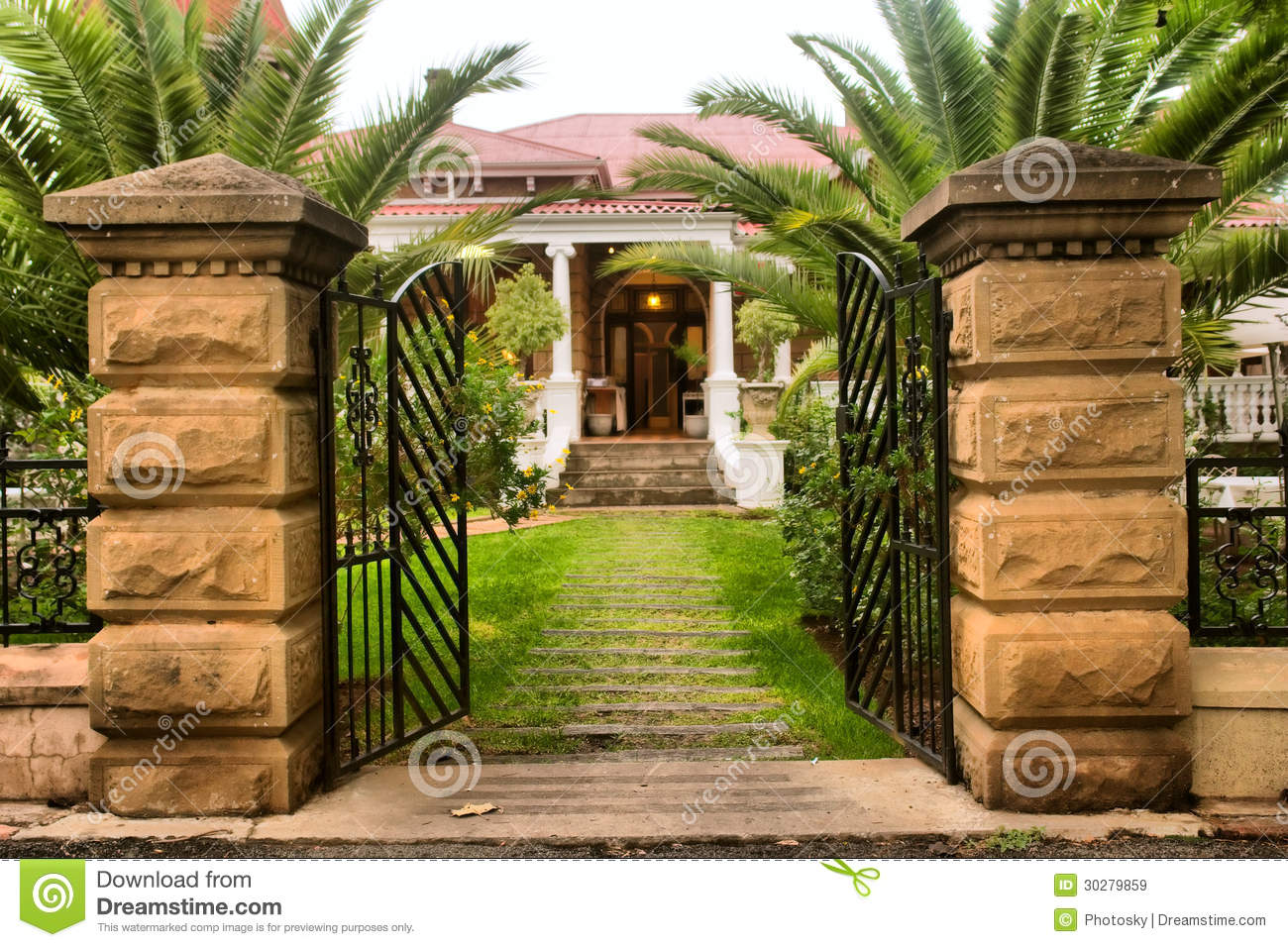 Entrance Gate Into Beautiful Old House Royalty Free Stock