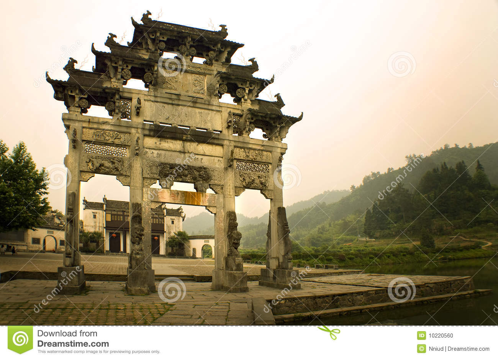 Entrance Gate To Xidi Village South China Stock Photo