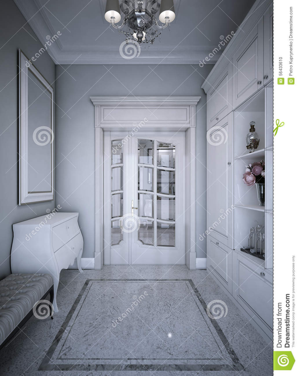 Entrance Hall Art Deco Style Stock Photo - Image of luxury, closet ...