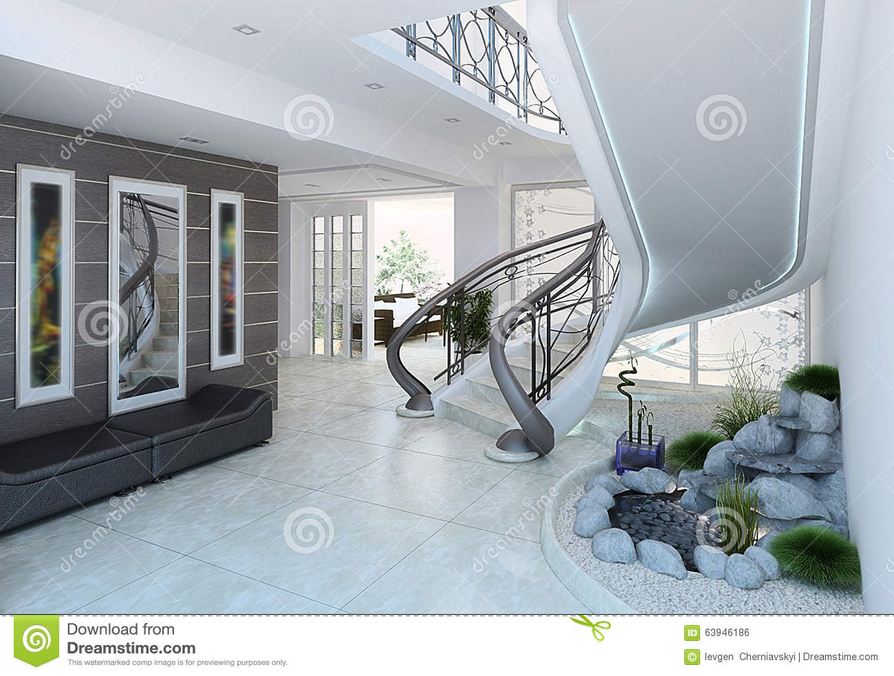 Entrance Hall Decorating Ideas, 3d Render Stock Illustration ...
