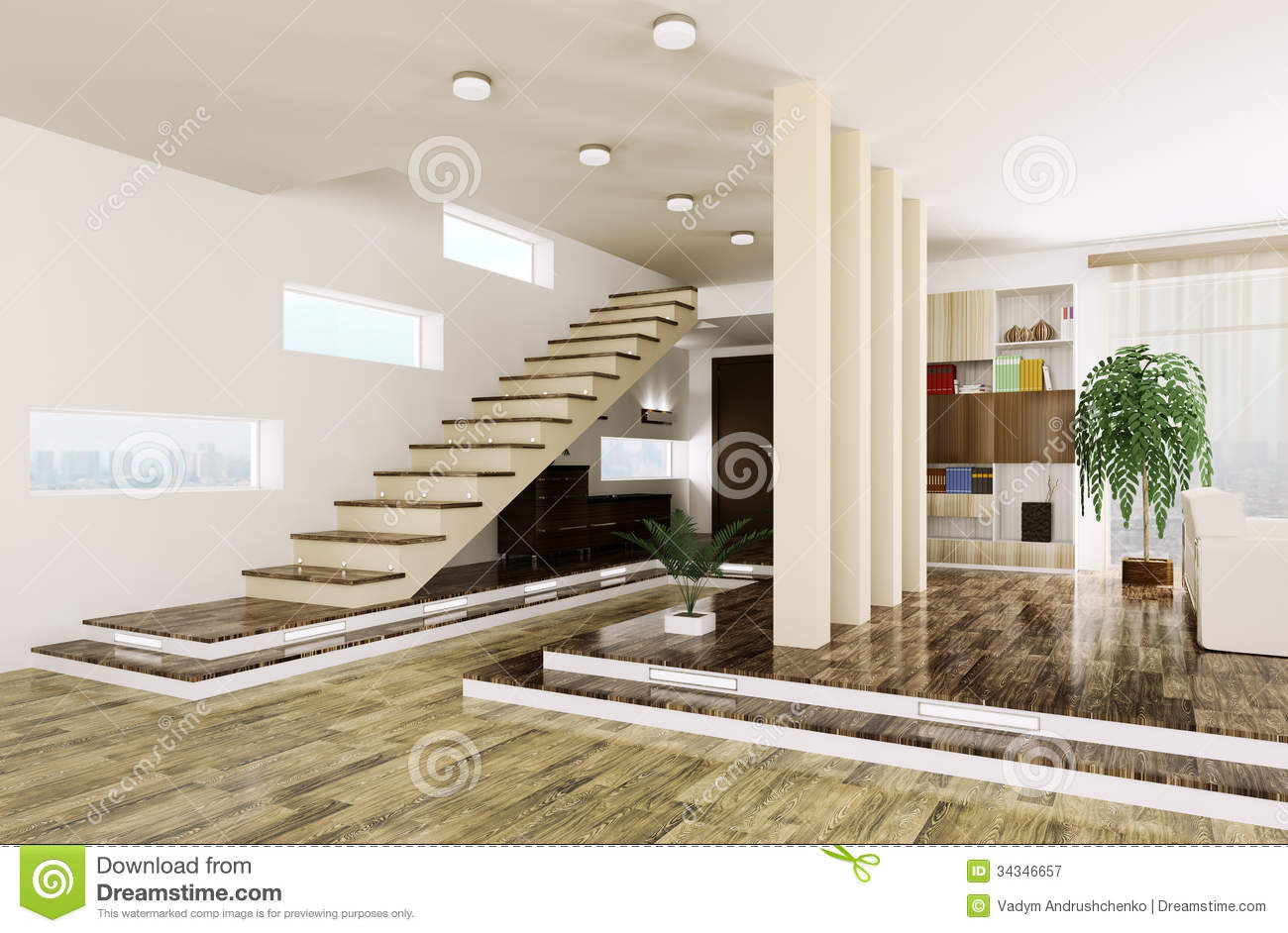 Entrance hall interior 3d render stock illustration for Modern entrance hall