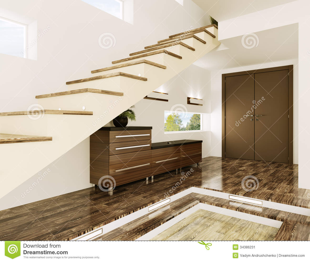 Entrance Hall Interior 3d Render Stock Illustration