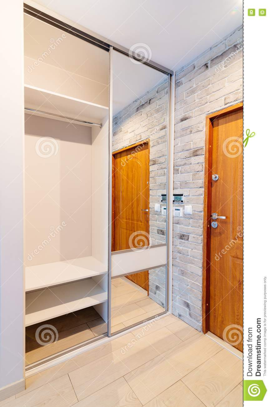 Entrance Hall In Modern Apartment With Mirror Wardrobe Stock Photo ...
