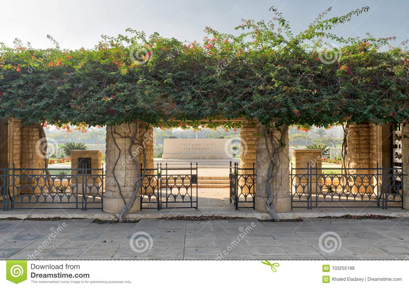 Entrance of Heliopolis Commonwealth War Cemetery with fence metal door, climber green plants, Cairo, Egypt