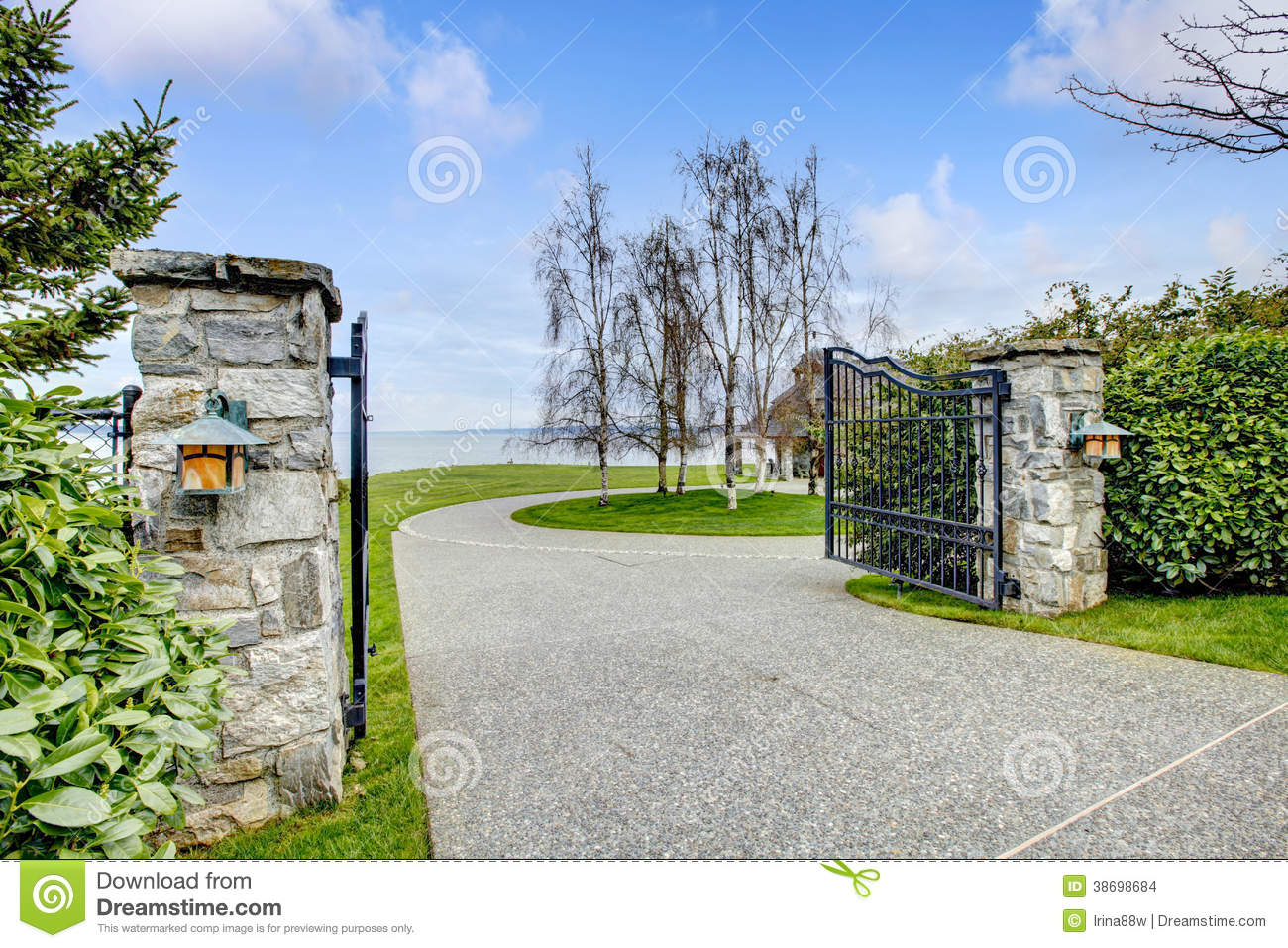 Residential Stone Columns : Entrance iron gates with stone columns stock images