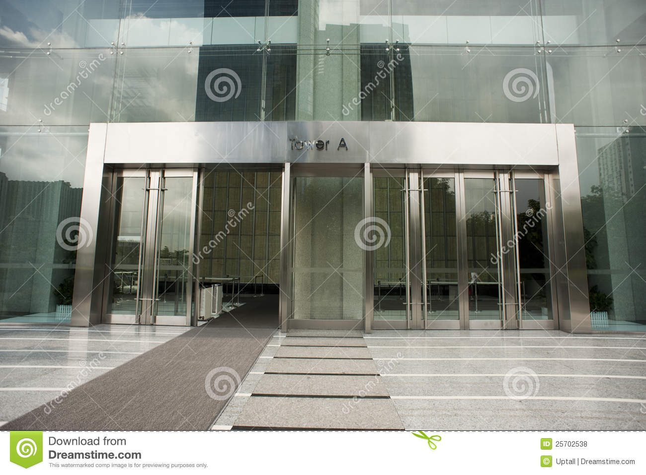 Modern White Office Building With Yellow Entrance Stock Photo ...