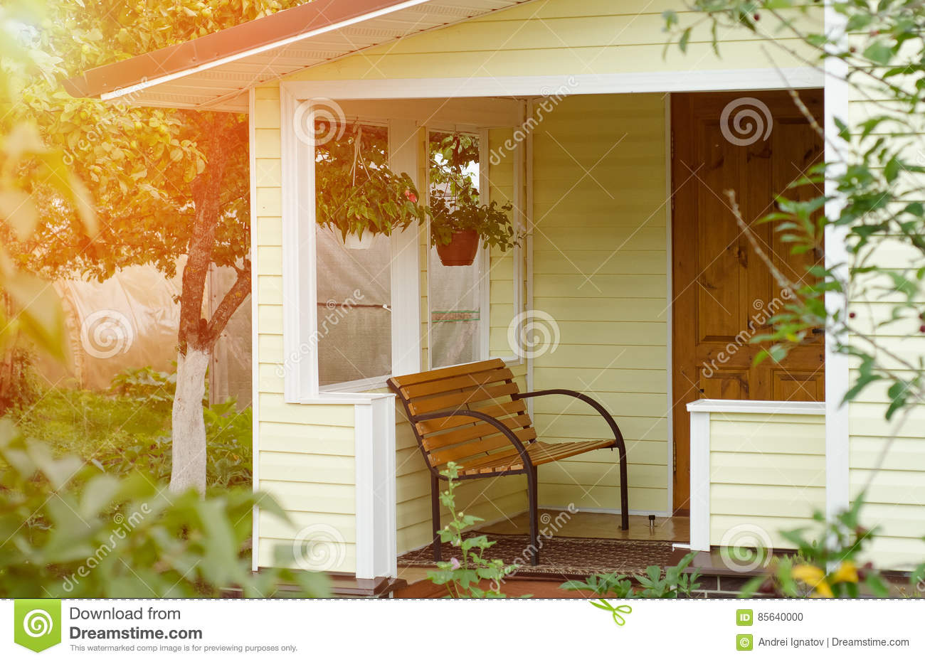 Entrance porch decorated with bench. Russian Federation