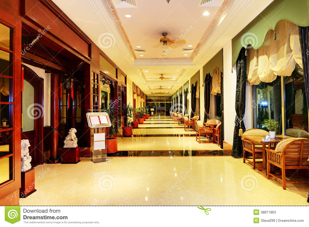 Entrance in restaurant and interior of hotel stock photo