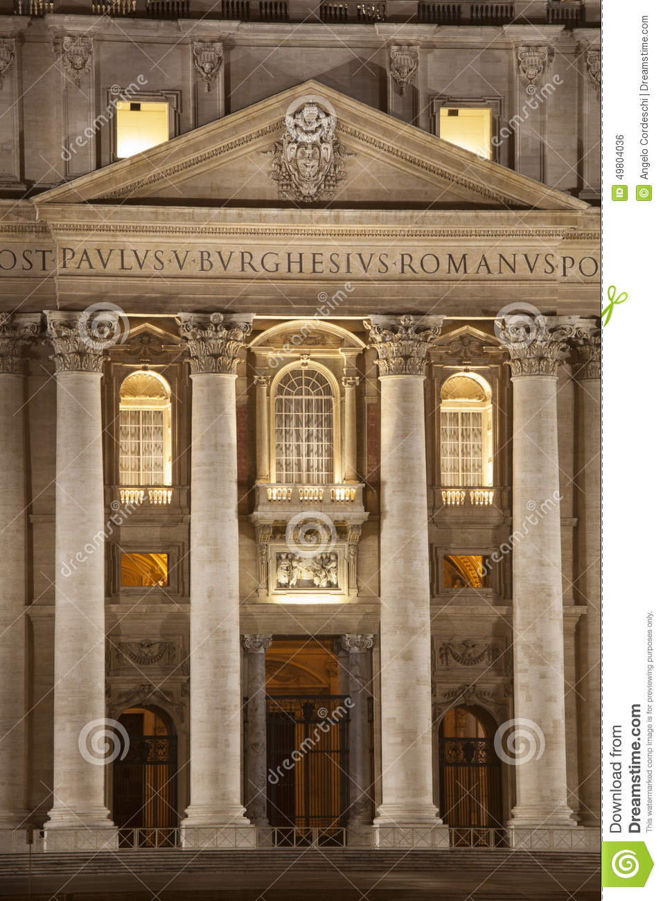 Entrance Of St. Peters Basilica In Rome. Vatican City
