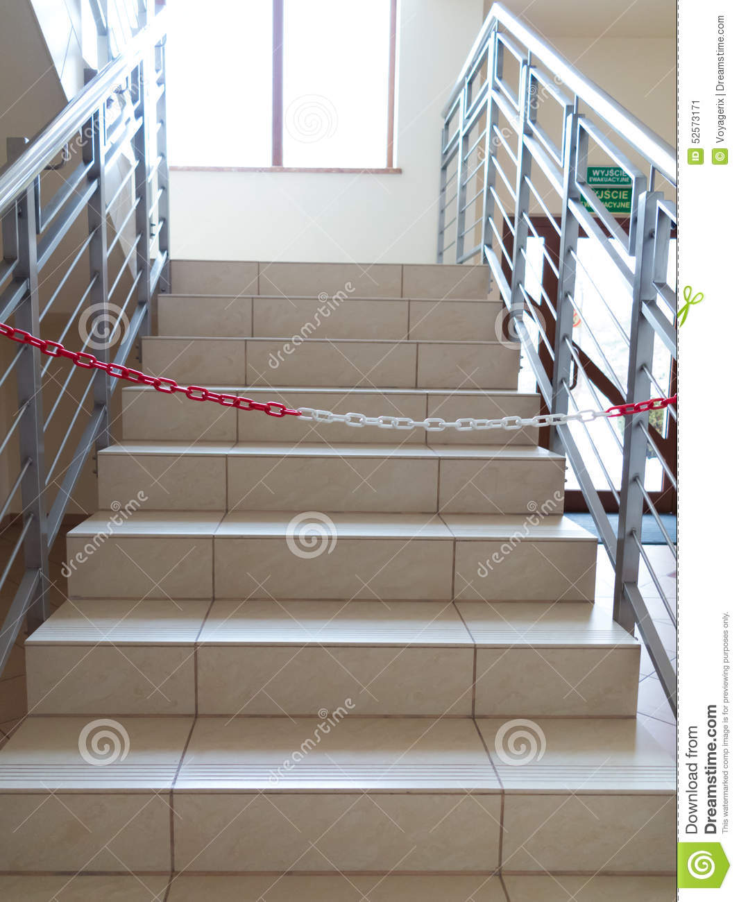 Entrance Stairs Closed With Rope No Entry Sign Stock