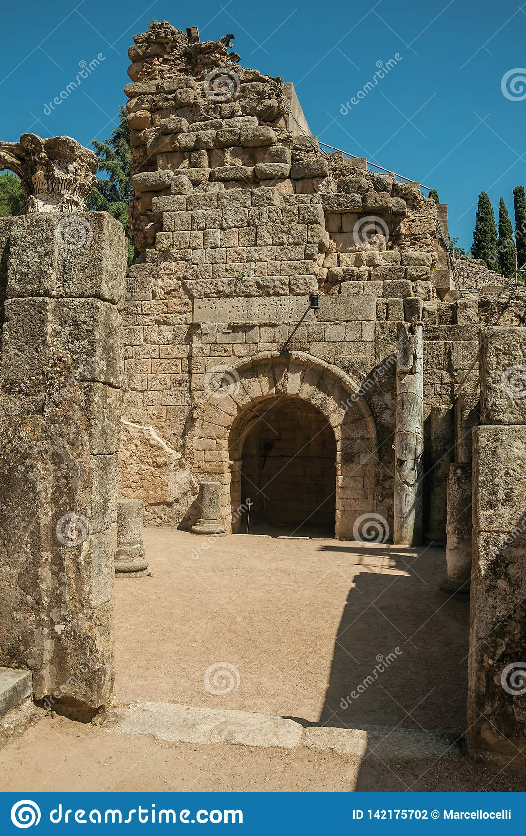 Entrance on stone wall at the Roman Theater of Merida