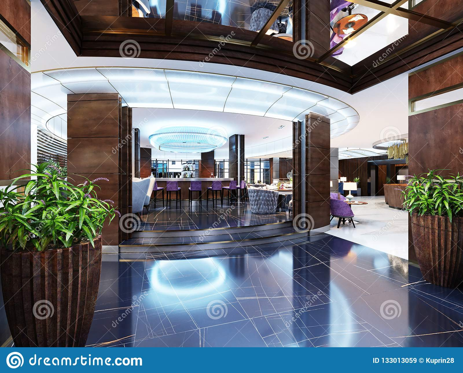 the entrance to the bar is a restaurant of a luxury hotel in a rh dreamstime com modern style hotel london