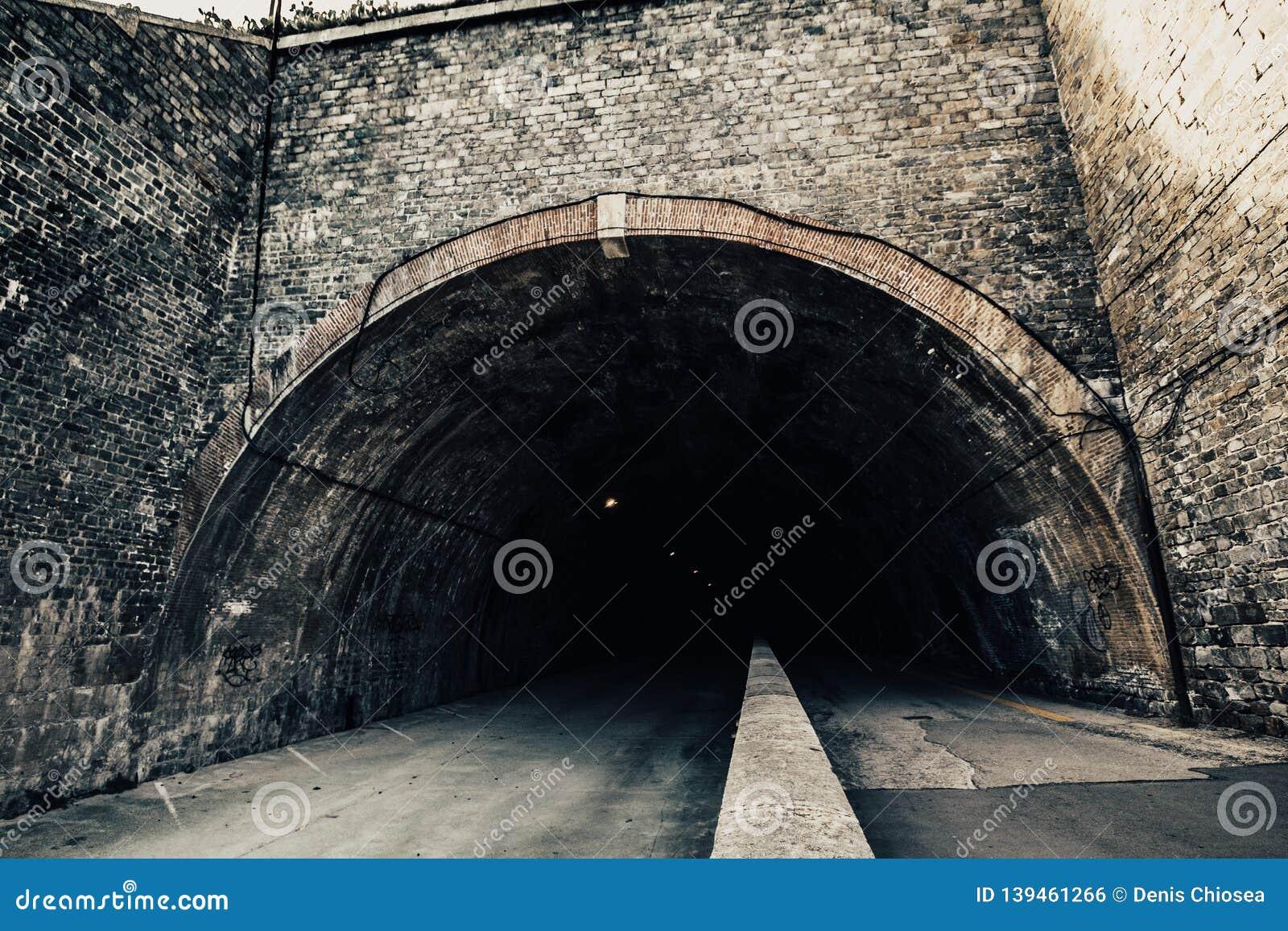 Entrance to a big dark tunnel, mystical.