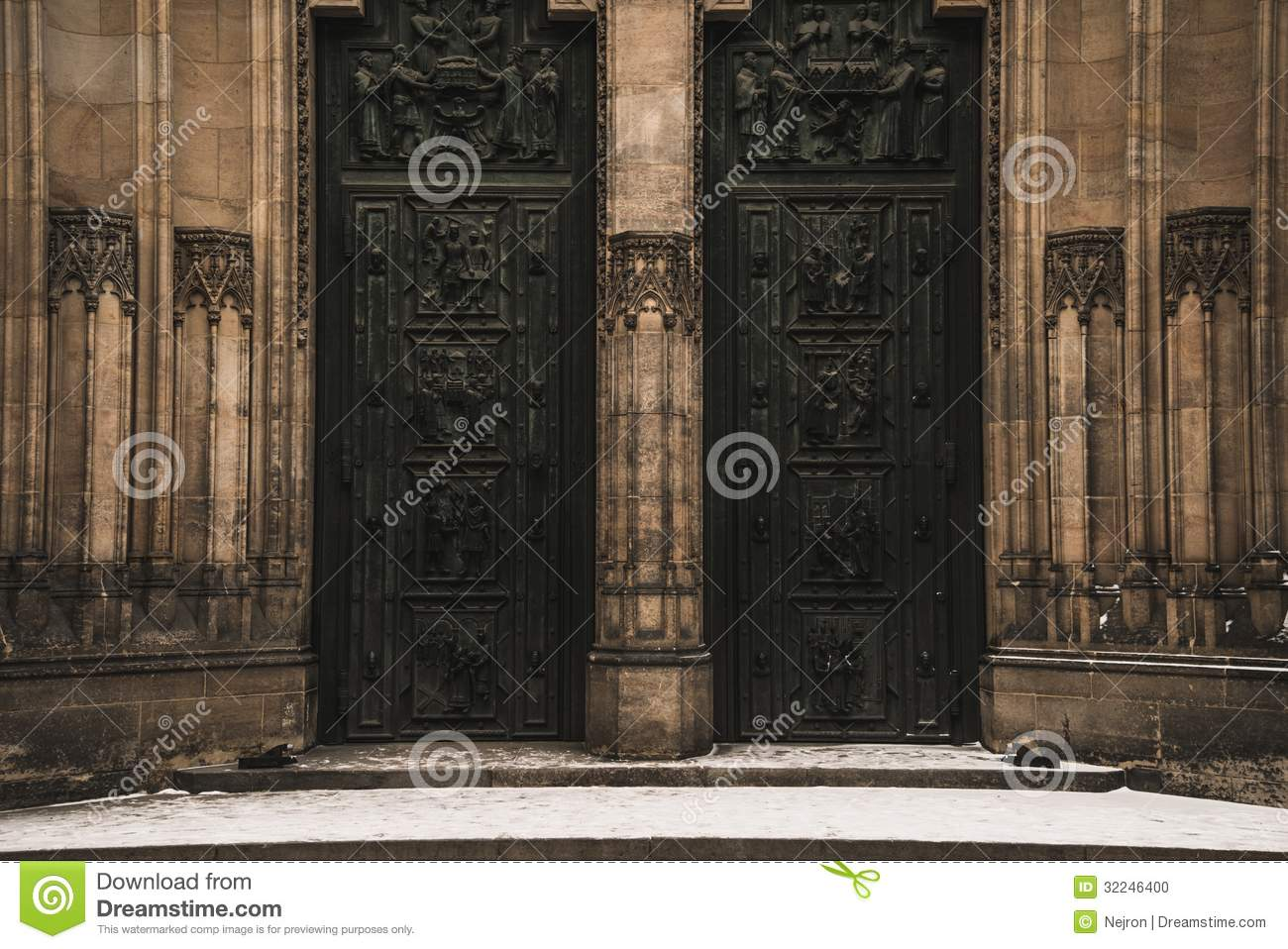 Entrance to cathedral stock photo image of landmark for Door z prague