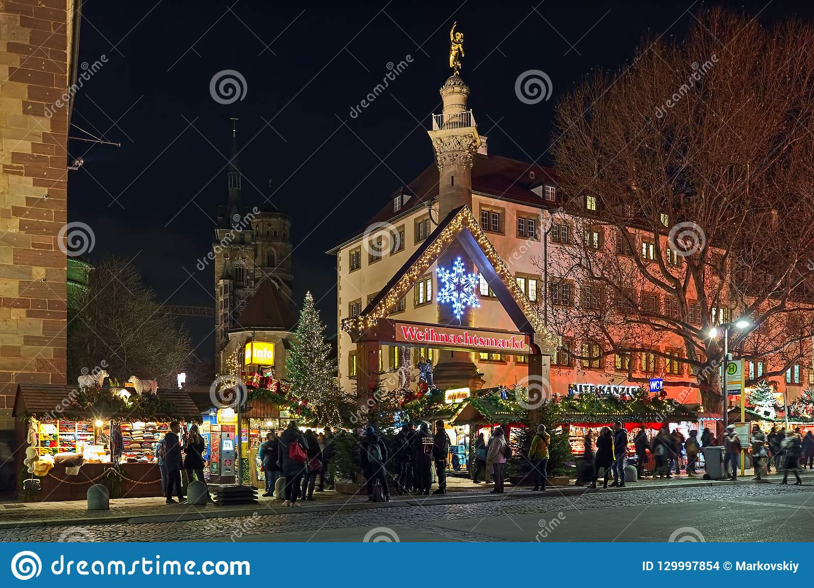 Christmas In Stuttgart Germany.Entrance To The Christmas Market At The Schillerplatz Square